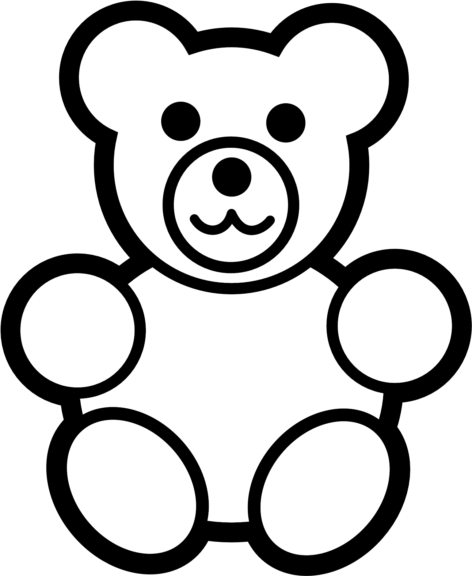 clip art royalty free stock Baby colouring pages of. Black and white clipart bear