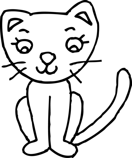 library Cute Kitty Colorable Line Art