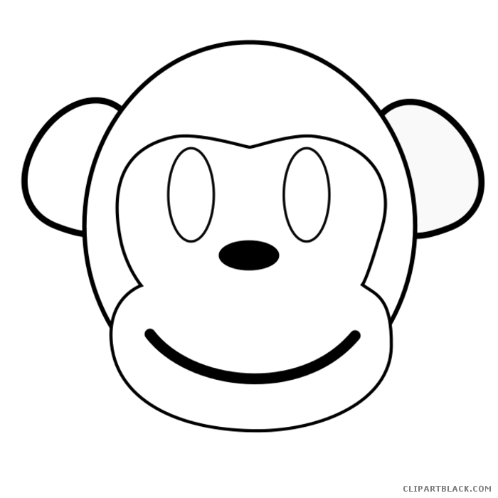 png black and white Black and white clipart monkey. Outline clipartblack com animal
