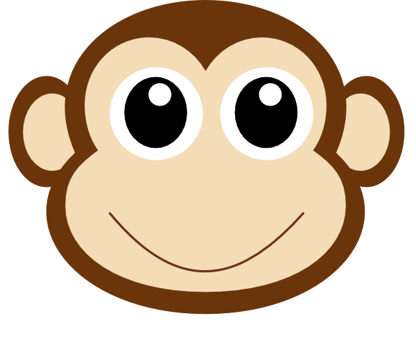 clip art black and white Monkey face clipground. Ape clipart macaque