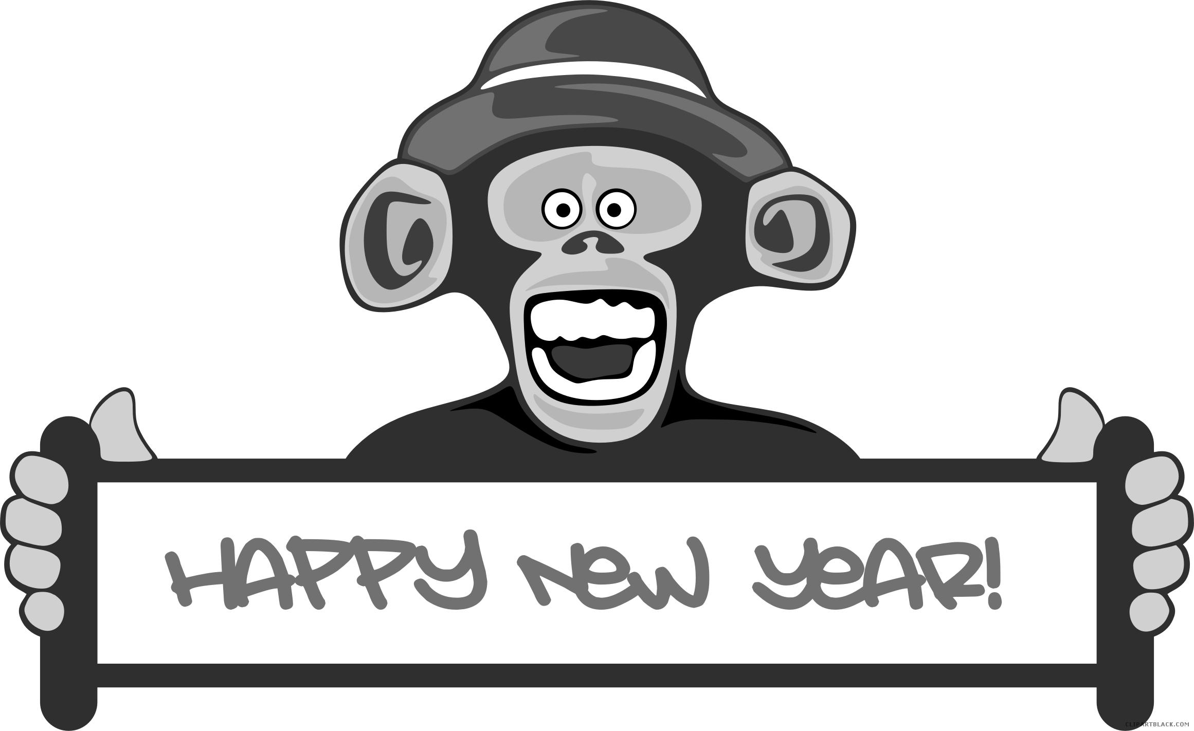image library download Black and white clipart monkey. Happy animal free images