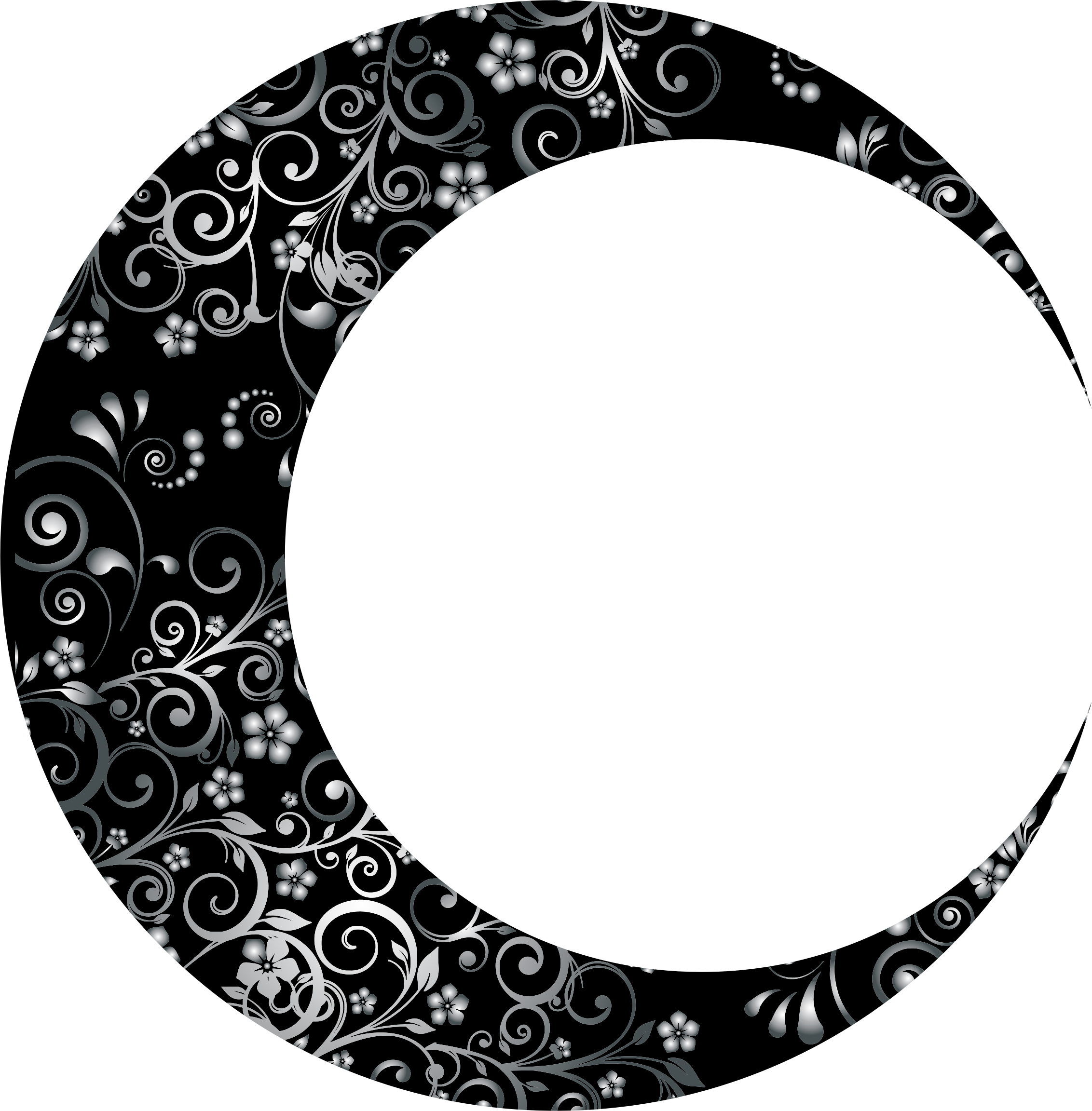png library library Clipart moon black and white. Prismatic floral crescent mark