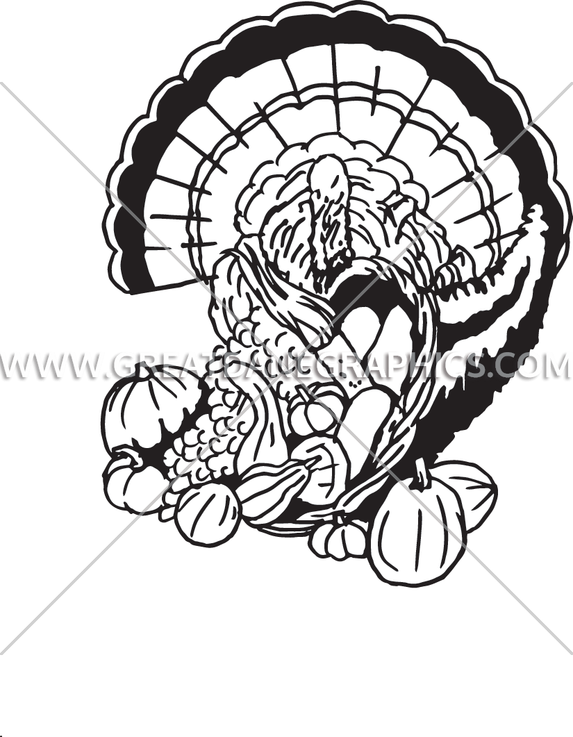 banner freeuse download Turkey production ready artwork. Black and white cornucopia clipart
