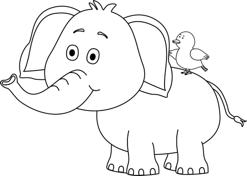 freeuse download Black and White Elephant and Bird Clip Art