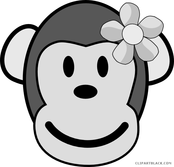 graphic royalty free library Black and white monkey clipart. Girl clipartblack com animal