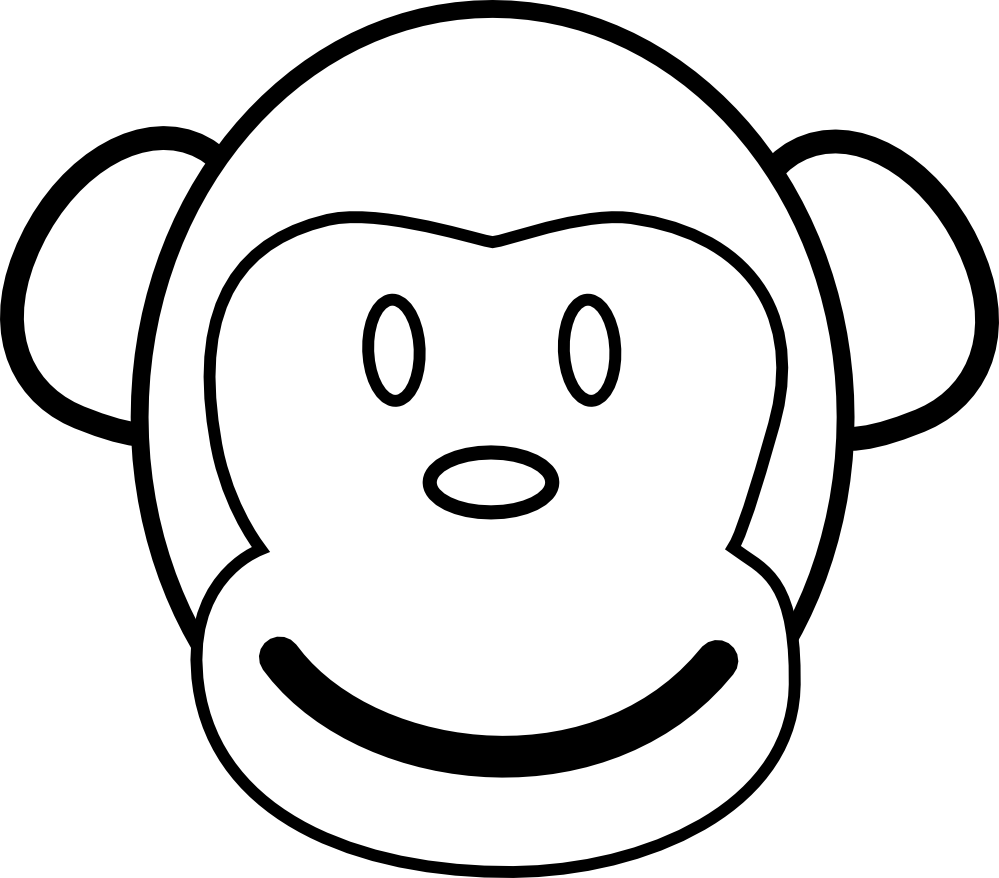 picture transparent download Monkey face clipart black and white. Clipartist net clip art