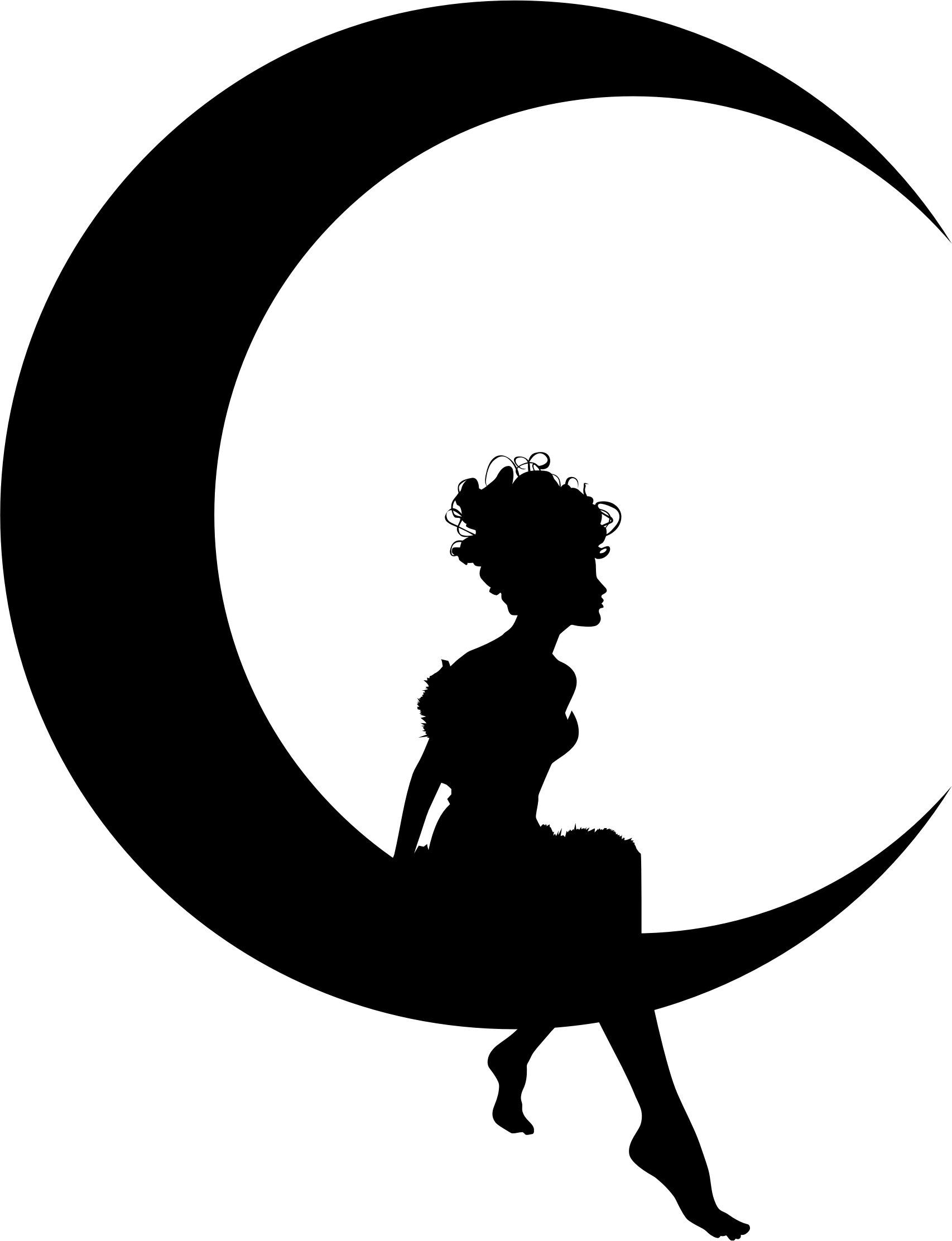 svg black and white Sitting on moon png. Fairy transparent crescent