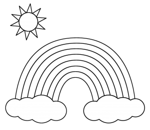 banner royalty free Drawing rainbows black and white.  rainbow clipart free