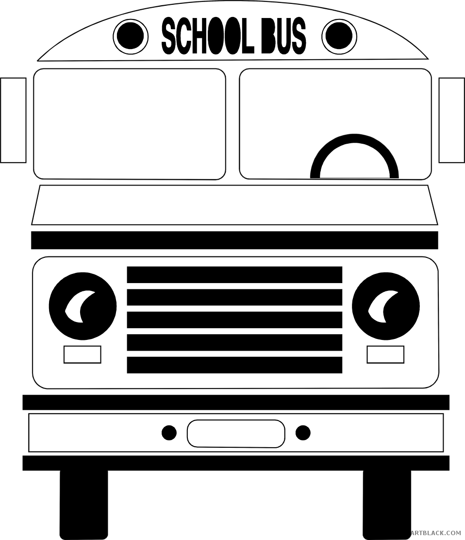 clip art free library Picture freeuse download school. Vector bus black and white