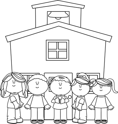 free library Kids at graphics from. Black and white school clipart