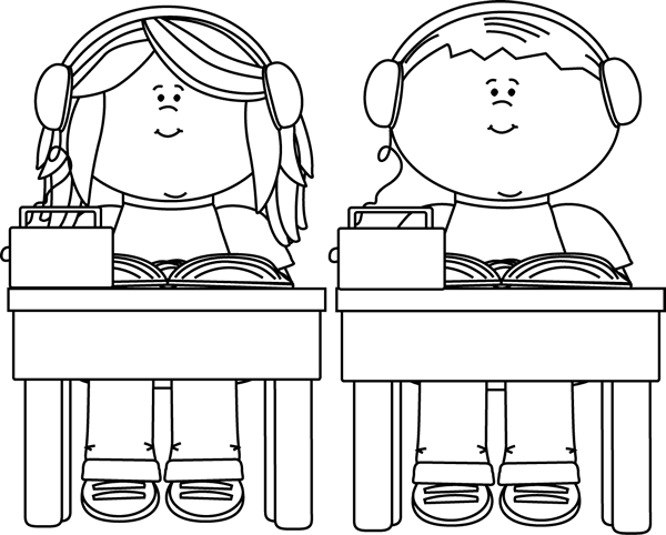 image download Kids listening to books. Black and white school clipart