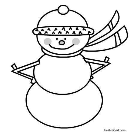 clip royalty free Black and white snowman clipart. Free winter clip art