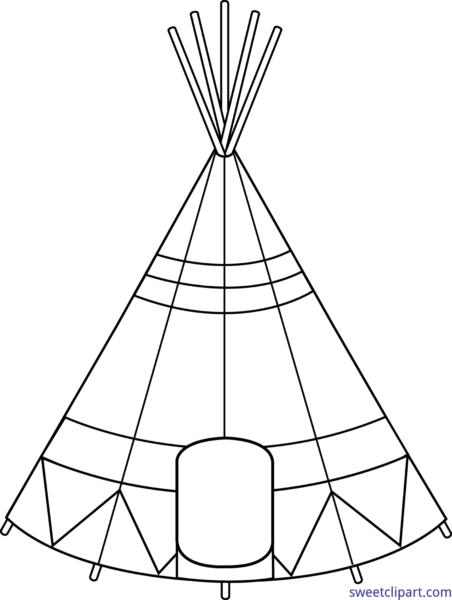 image transparent stock Sweet clip art page. Black and white teepee clipart