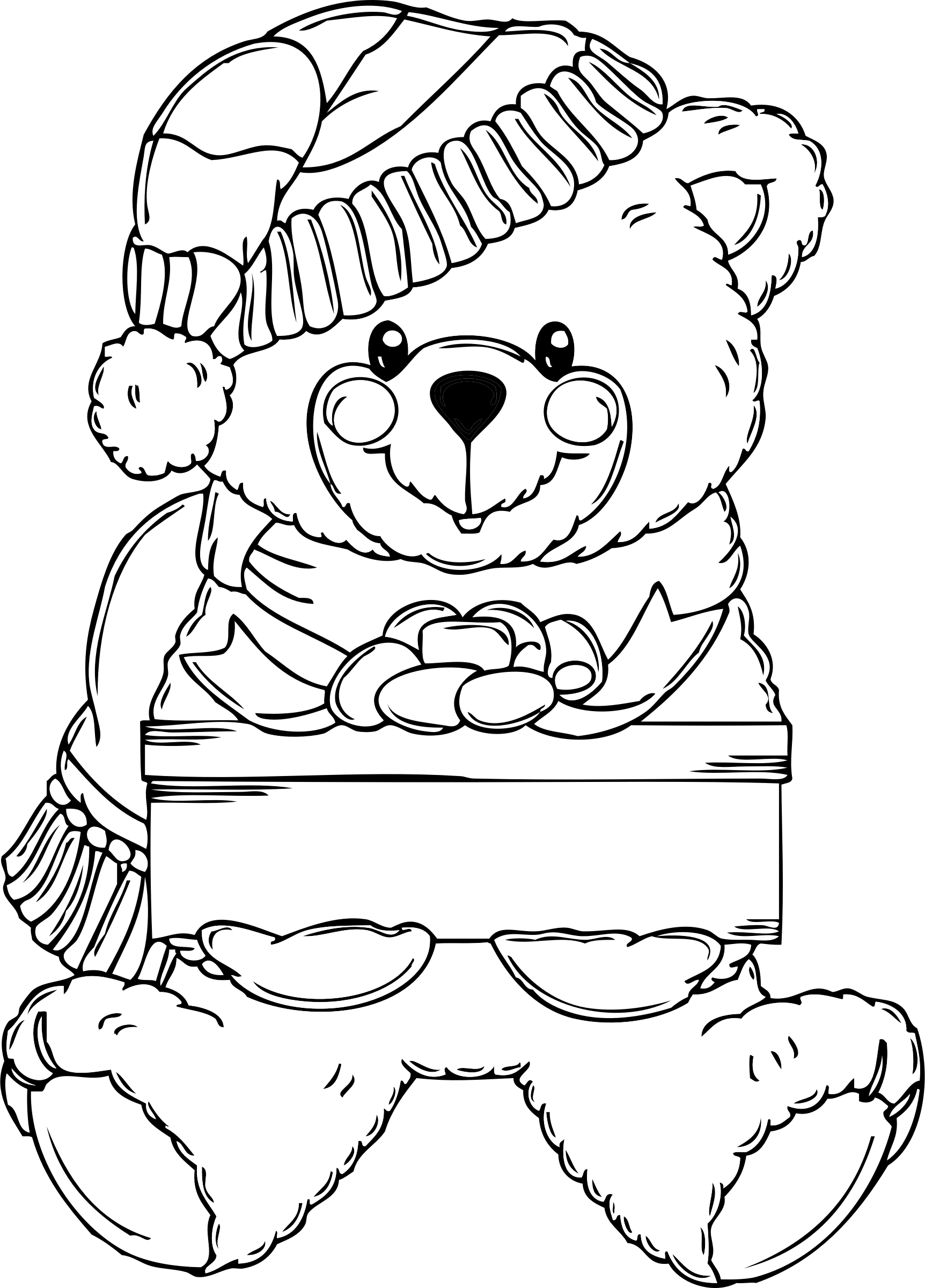 png free download Christmas coloring page big. Black bear clipart black and white