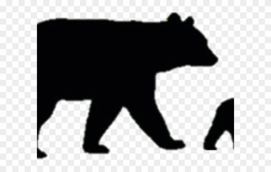 stock Black bear cub clipart. Sitting and silhouette