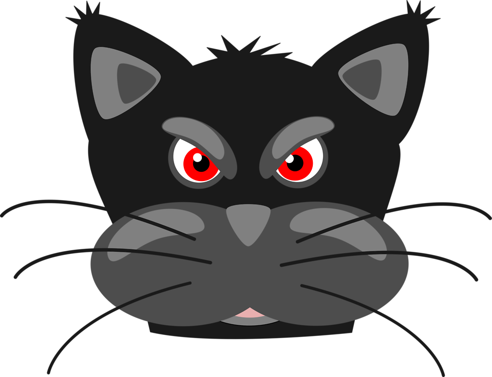 svg library library Black cat face clipart. Free stock photo illustration