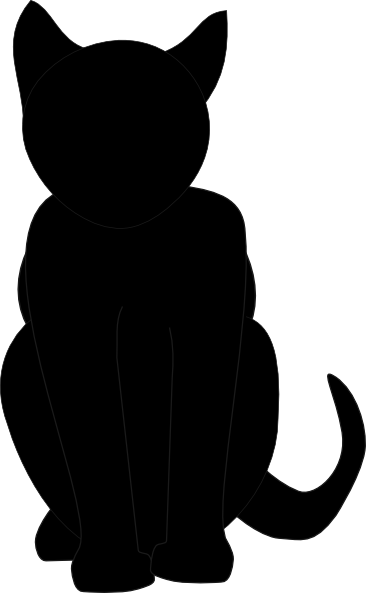 image black and white library Black cat silhouette pumpkin carving stencil via clker