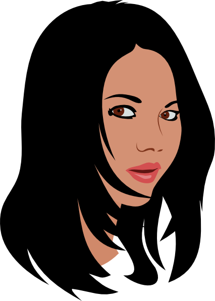 graphic library stock Girl with . Black hair clipart