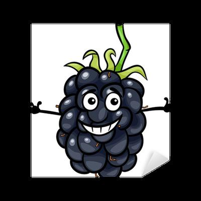 free Blackberry drawing cartoon. Funny fruit illustration sticker