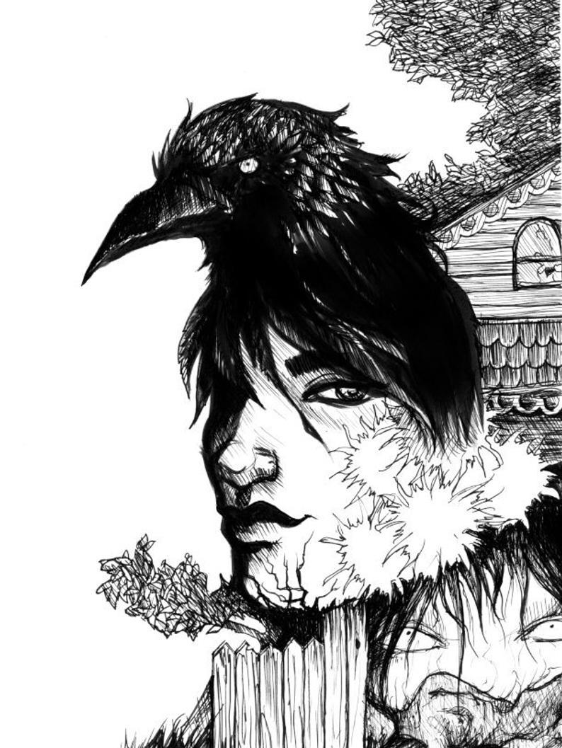 svg free library Original by amara . Blackbird drawing ink
