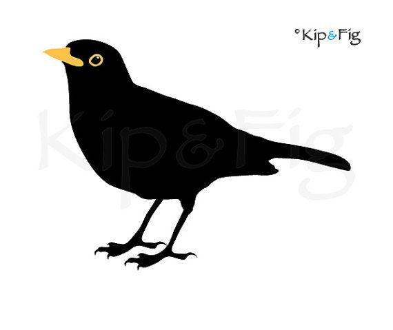 clip Blackbird drawing stencil. Applique template pdf pattern