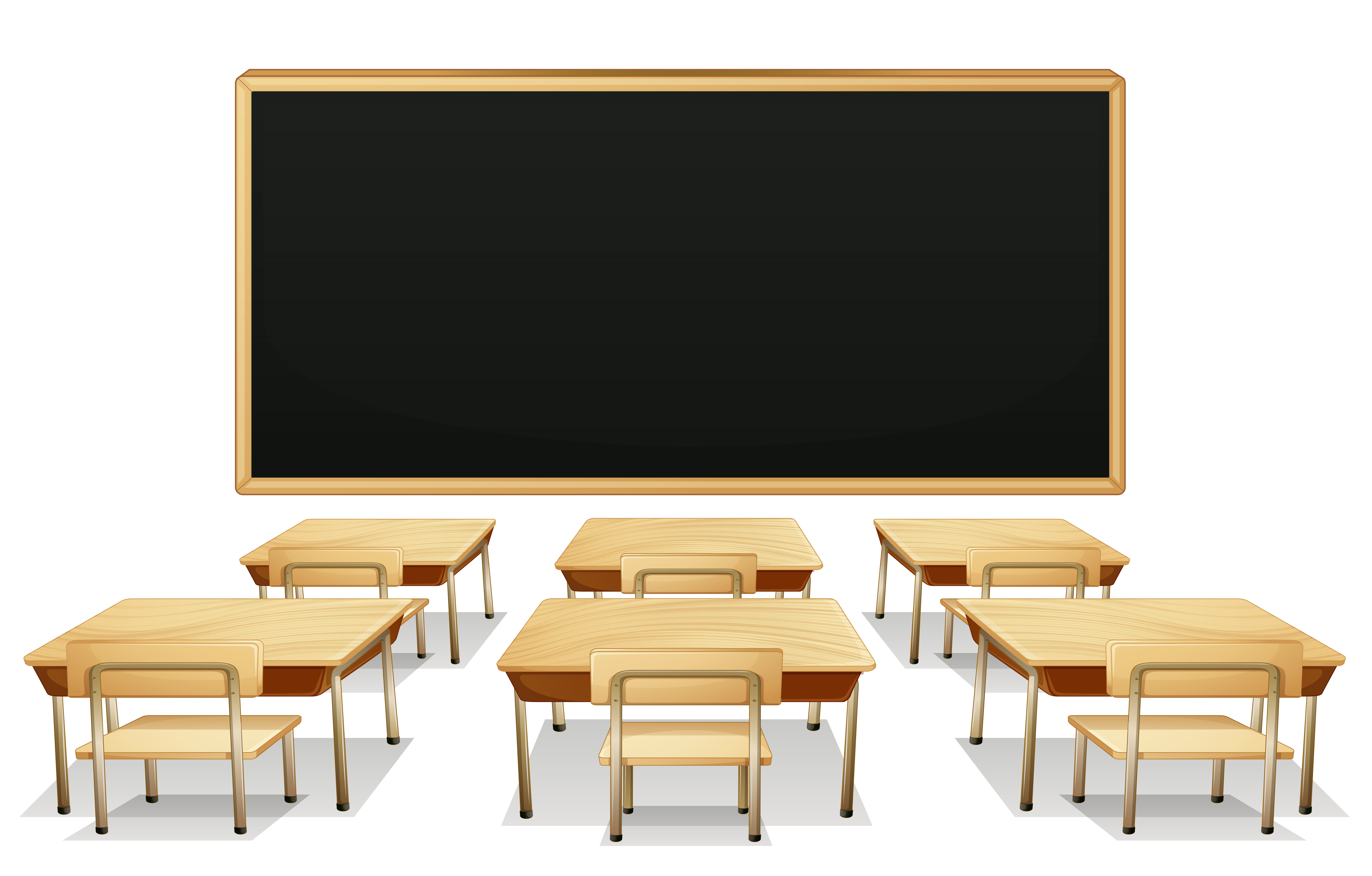 freeuse library Blackboard clipart high school classroom. With and desks png.