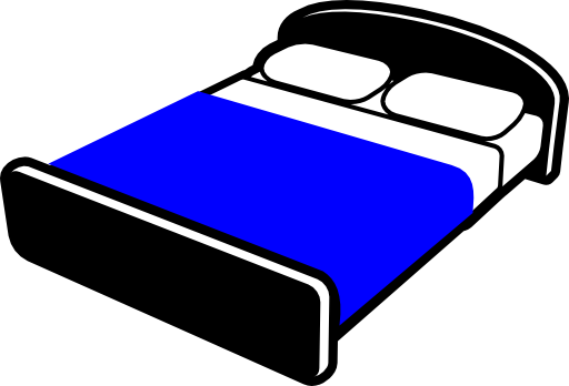 graphic black and white Bed with blue i. Blanket clipart