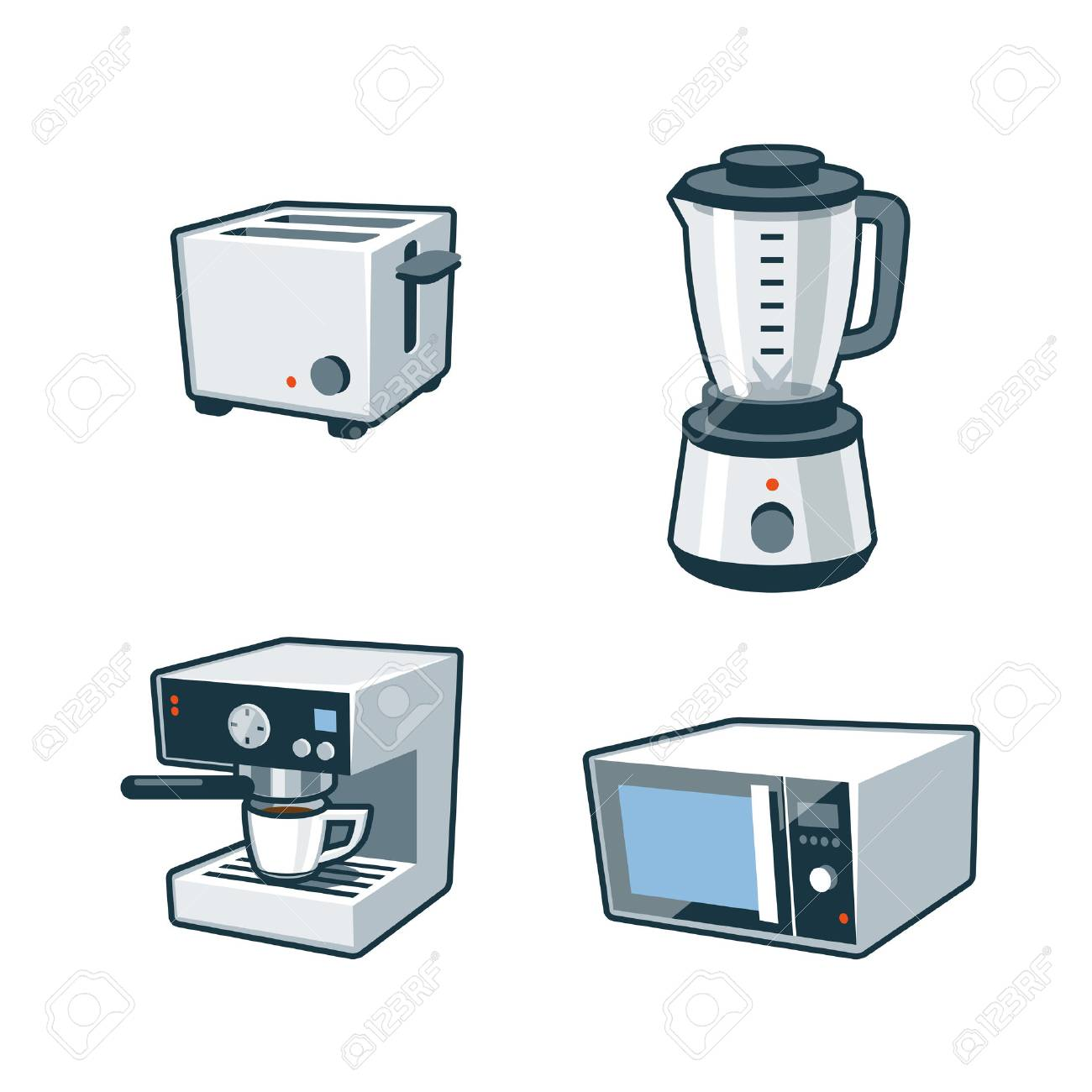 clip stock Blender clipart vector. Oven toaster set of.
