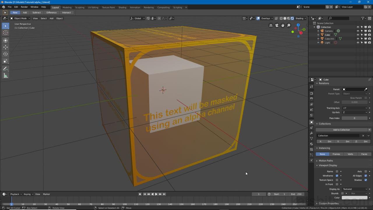 image black and white Cube transparent blender. Basic alpha transparency knowledgebase