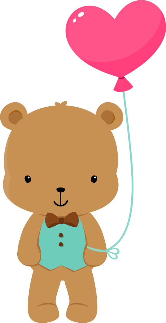 graphic free library Bear with balloons clipart.  fauna enamorada too