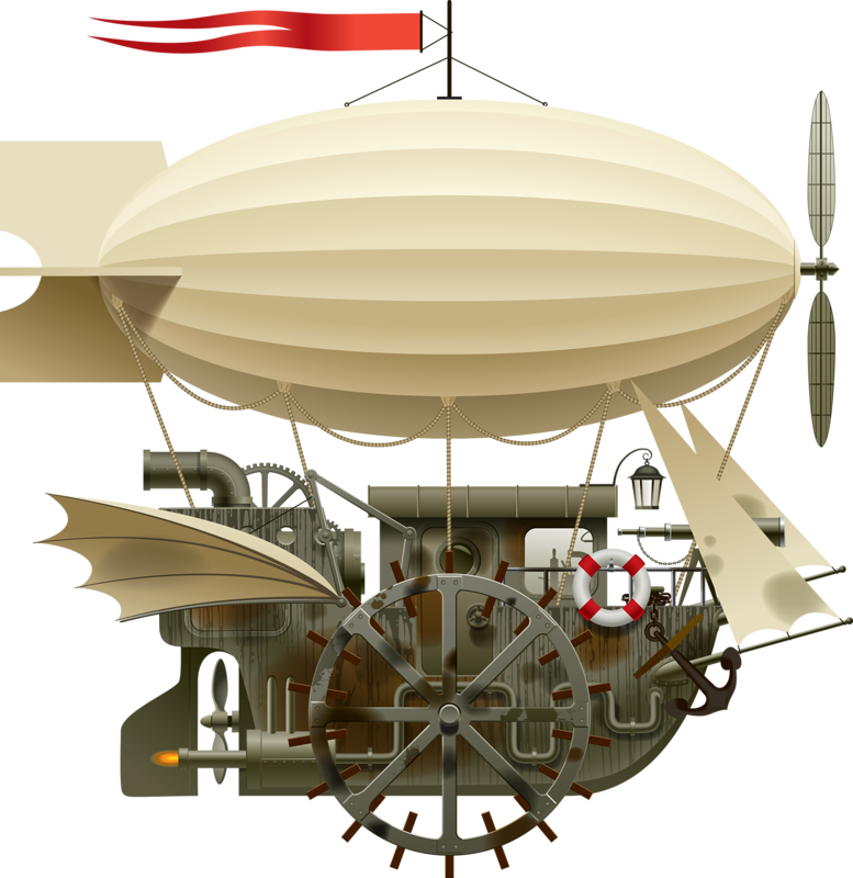 png black and white steam drawing dirigible #103779911