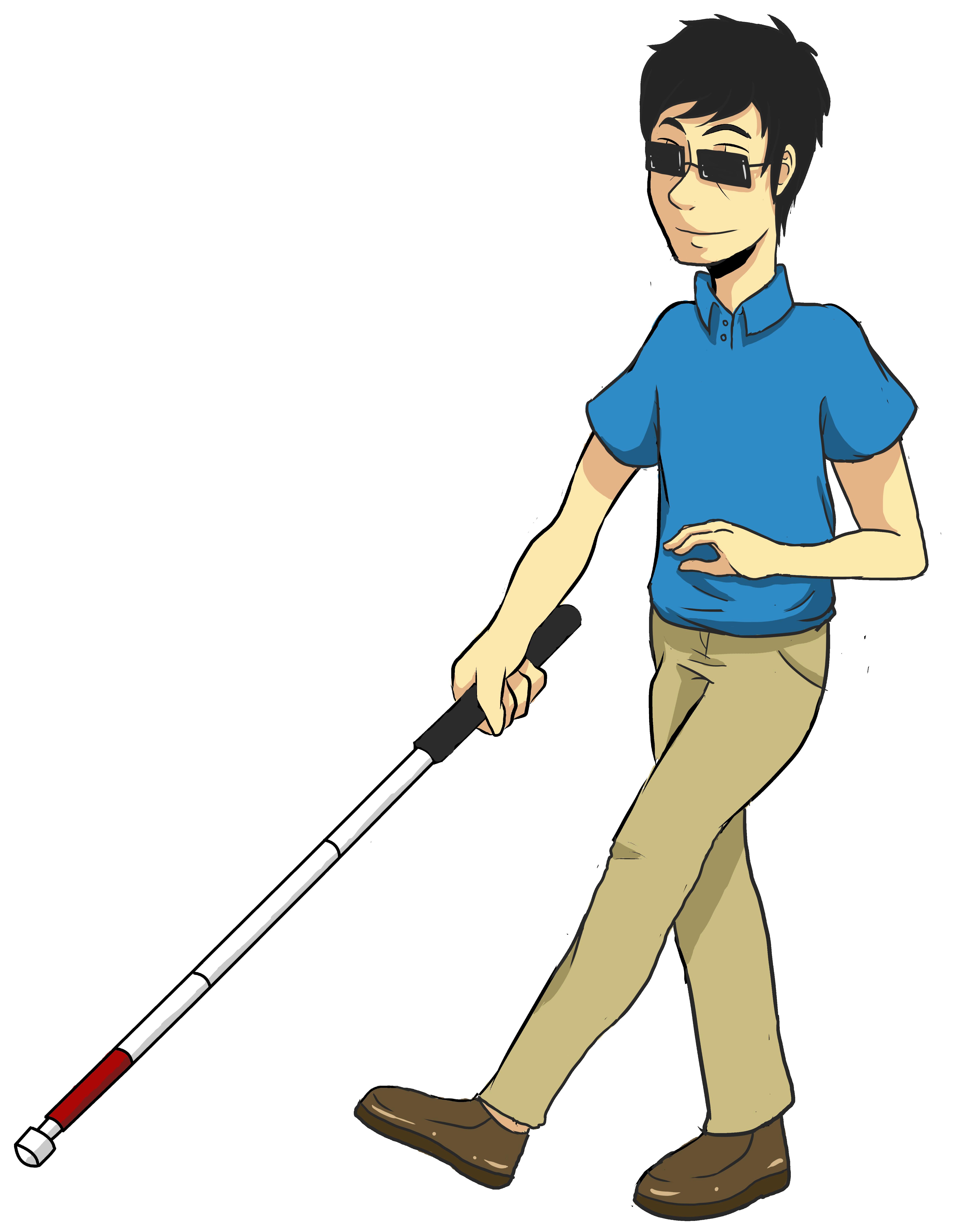 clip free Walking on sidewalk clipart. Blind man