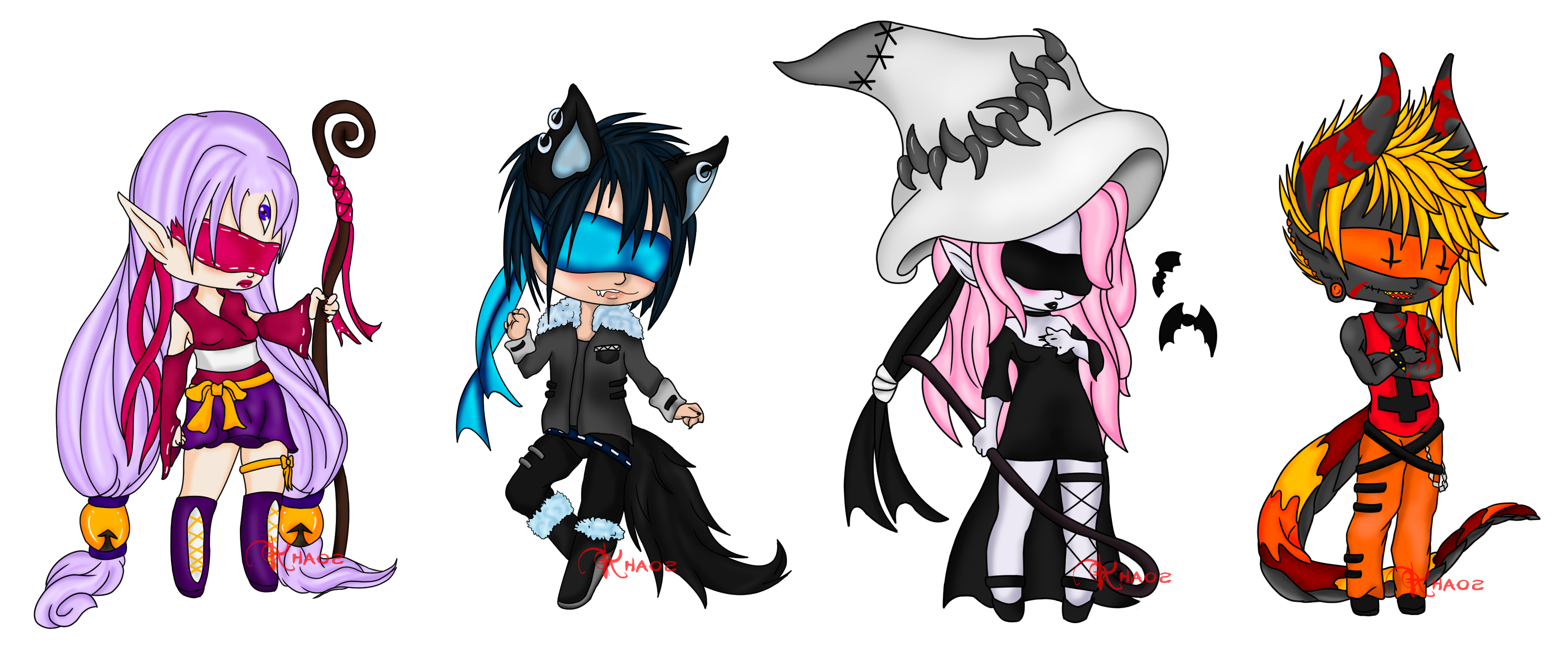 free library Blindfold drawing blind character. Fantasy chibi adopts open