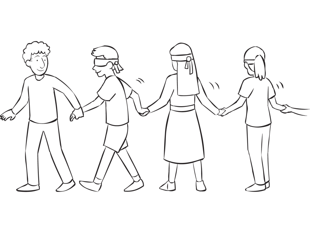 vector transparent library Sherpa walk fun initiative. Blindfold drawing blind fold