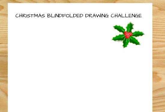 clip freeuse Blindfolded challenge free printable. Blindfold drawing christmas