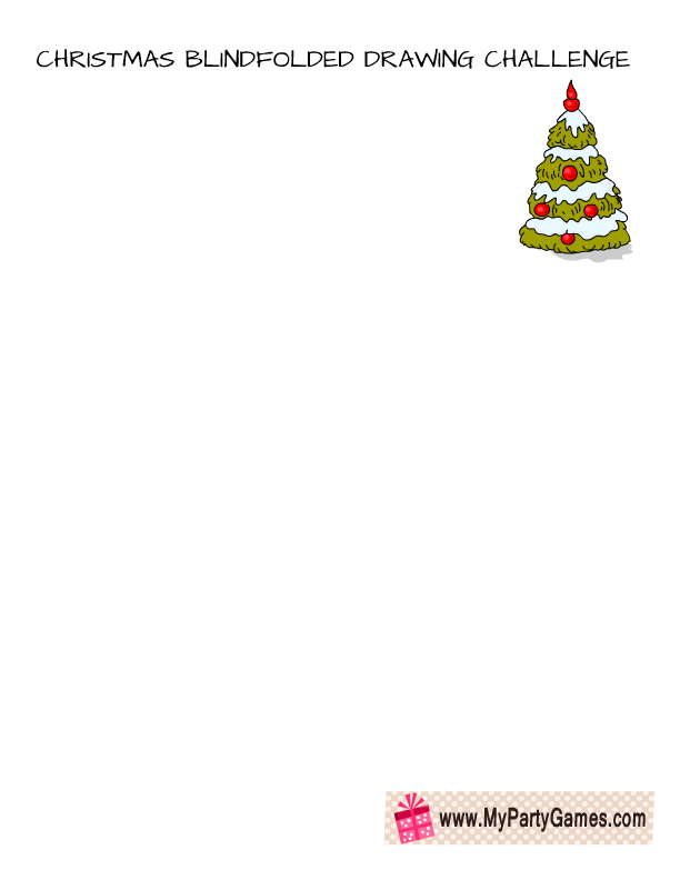 clip royalty free Blindfold drawing christmas. Blindfolded challenge draw a