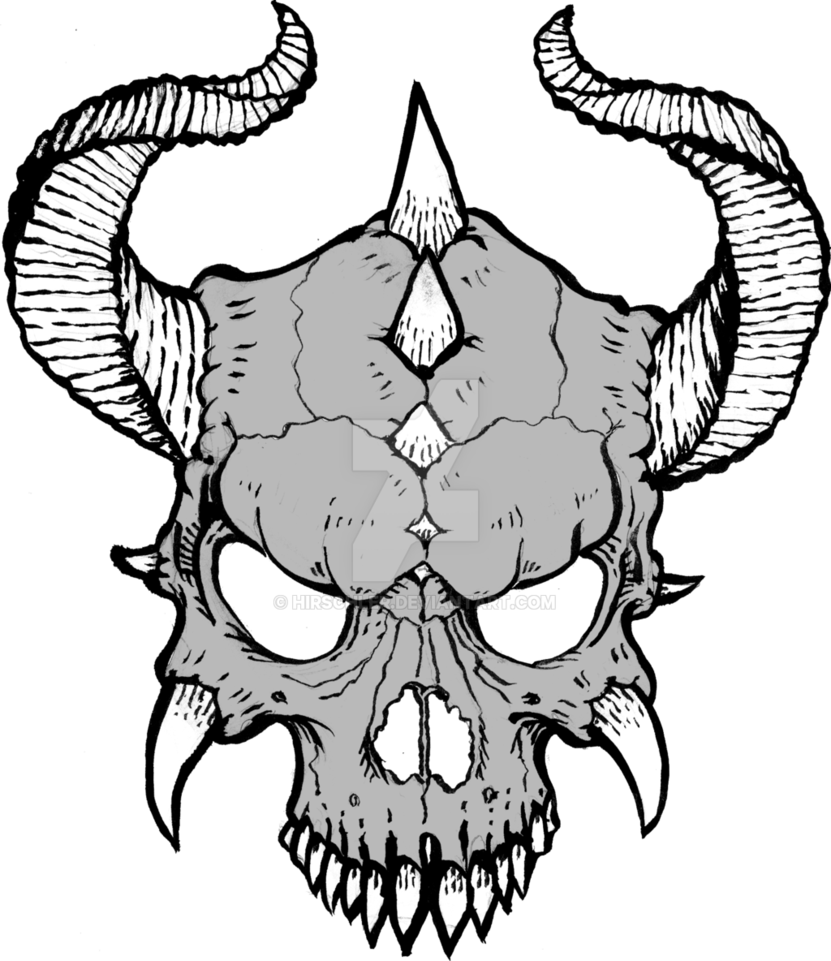jpg royalty free download Blindfold drawing horn. Skull with horns at