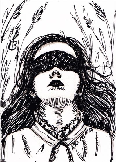 graphic royalty free library Blindfold drawing seer. Inktober the by lualady