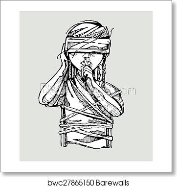 clip art black and white download No more silence art. Blindfold drawing tied