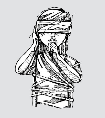 picture freeuse Hand drawn vector illustration. Blindfold drawing tied