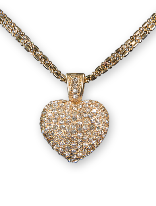 clipart royalty free library Pave heart necklace anniversary. Bling transparent pendant