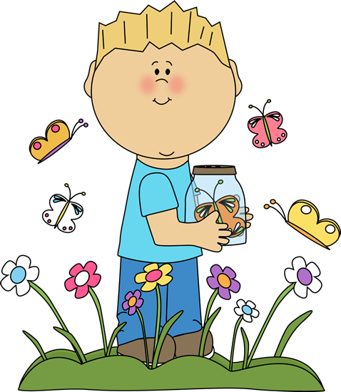 image free library Child clipart butterfly. Spring clip art boy.