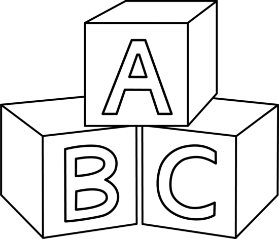 clipart library library Colorable ABC Blocks
