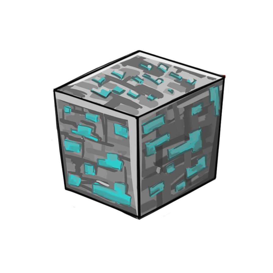 png transparent stock Block drawing painting. Minecraft diamond png redsheep