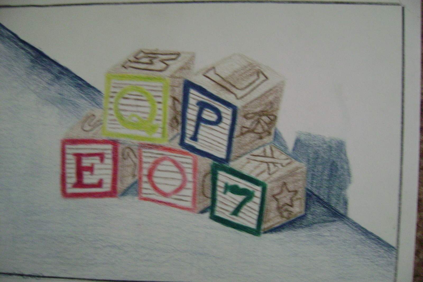 image freeuse stock Block drawing simple. Wooden blocks a on