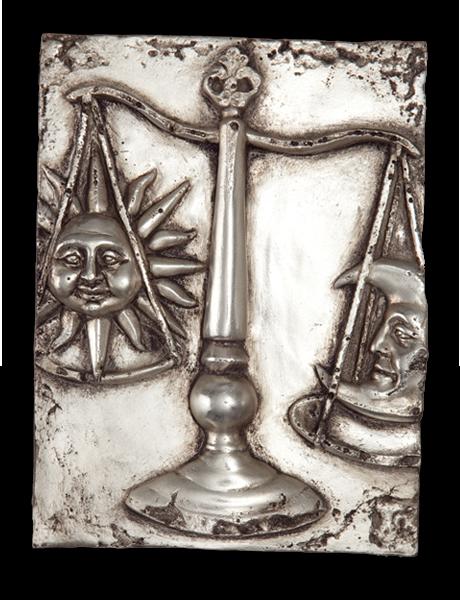image black and white Libra silver decorative art. Block drawing still life