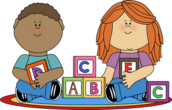 clip free stock Kids Playing with Blocks Clip Art