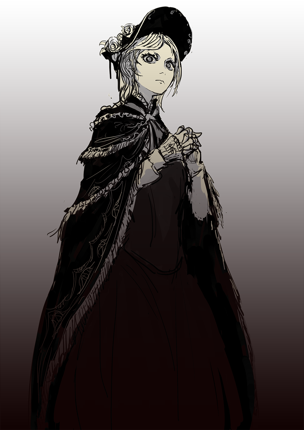 graphic free Bloodborne drawing.  girl bonnet cloak