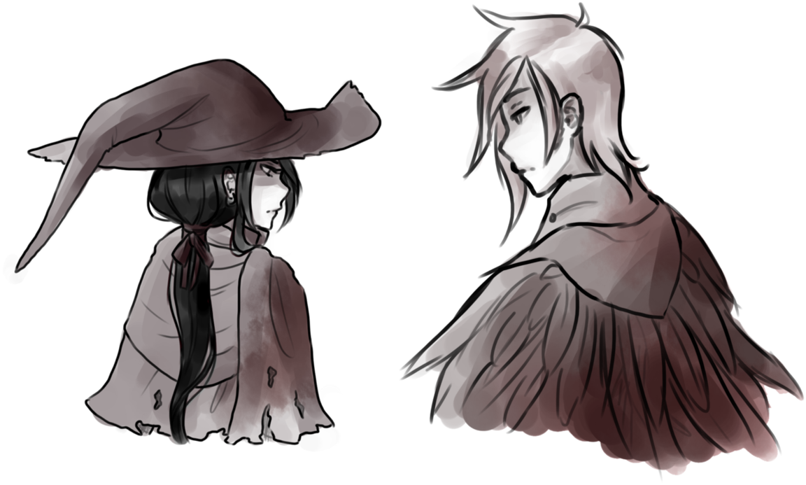 png black and white library Witch and crow by. Bloodborne drawing anime