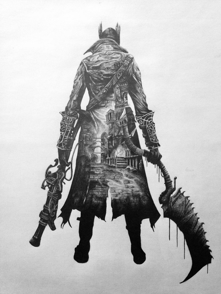 picture black and white download Bloodborne drawing easy. Girlfriend drew artwork in